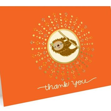 Sloth Foil Stamped Thank You Cards
