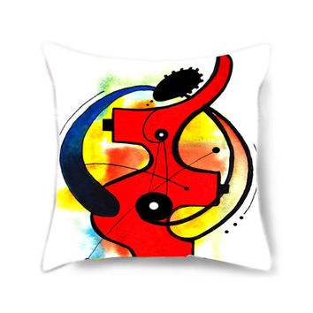 Decorative pillow cover, throw pillow, art pillow, decorative pillow for bed, red pillow, pillow cover, musical instrument, musical gift