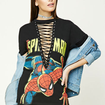 Spiderman Graphic Lace-Up Tee