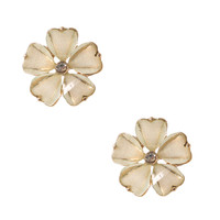 Mint Glitter Stone Flower Stud Earrings