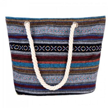 Casual Tribal Print and Canvas Design Shoulder Bag For Women