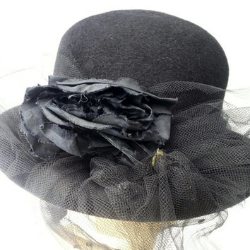 Vintage Hat Bowler Betmar Black with Netting