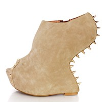 Nude Spike Studded Gravity Wedges Faux Leather