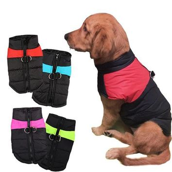 LMFLD1 8 Size S-5XL Winter Dog Clothes For Pet Waterproof Warm Large Dog Vest Cat Puppy Dog Ski Coats Jackets Green/Red/Blue/Pink