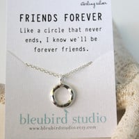 Classic Silver Hammered Circle Necklace / Best Friends Necklace/ Eternity Karma Circle/Sisters Necklace/Sterling Silver Chain
