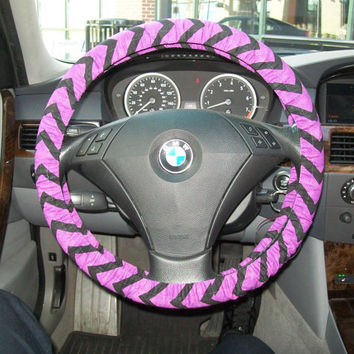 Purple and Black Chevron Steering Wheel Cover