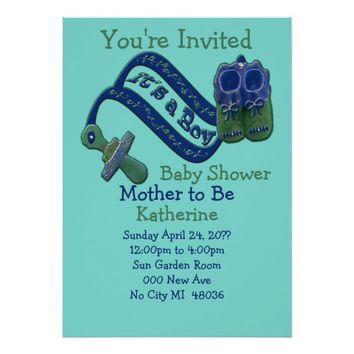It's a Boy Pacifier Shoes Baby Shower Card