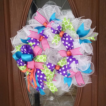 "Deco Mesh Wreath, Year Round Wreath, Colorful Wreath, Bright Wreath, Ruffle Wreath, White 21"" Indoor/Outdoor Wreath"
