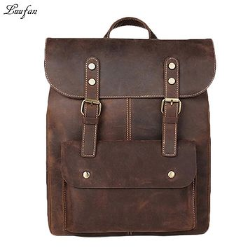 Crazy Horse Cowhide Leather Backpack Men Vintage Genuine Leather Daypack Big School Book Laptop Bags Travel
