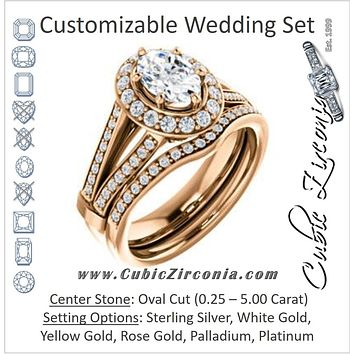 CZ Wedding Set, featuring The Shaundra engagement ring (Customizable Oval Cut with Halo, Cathedral Prong Accents & Split-Pavé Band)