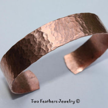 Hammered Copper Cuff Bracelet - Hammered Cuff - Copper Bracelet - 1/2 Inch Width - Gift For Her - Solid Copper - Gift For Him - Medium Cuff