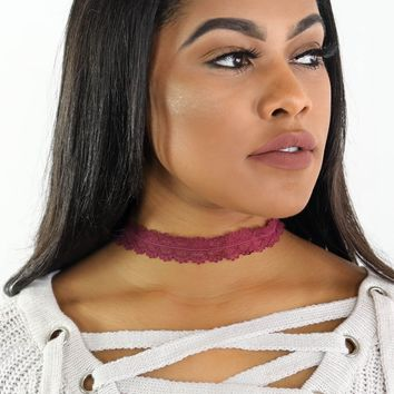 Wine Lace Choker