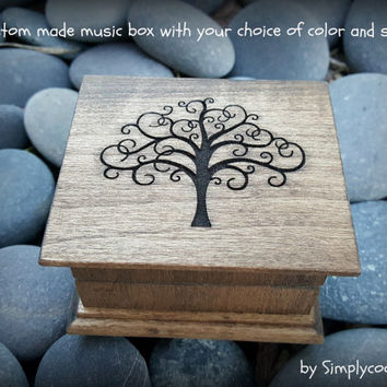 music box, musical box, music boxes, wooden music box, custom music box, tree of life, wedding gift, simplycoolgifts, valentines day gift