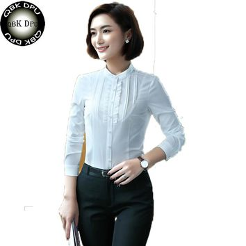 QBKDPU 2017 fashion long sleeve Solid white office women shirt Mandarin Collar blouse Slim girl upper outer garment