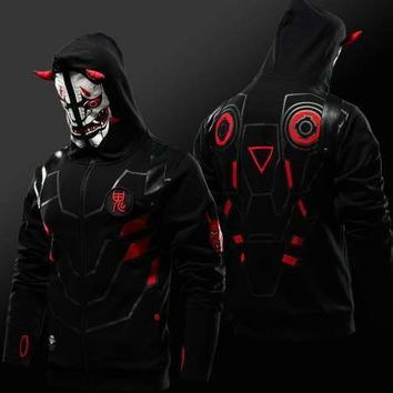 Quality Limited Edition Blizzard OW Oni Genji Skin Mask Hoodie Thumb Holes Sweatshirt For Men Full Zip Black Cosplay Hoodies 4XL