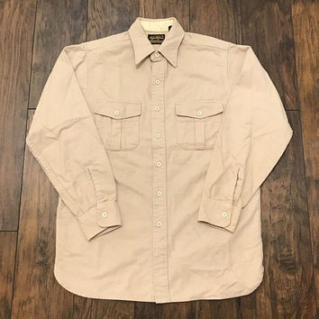 9e62b6cf Vintage 1990s 90s Eddie Bauer Heavy Cotton Beige Button Up Outdoors Shirt  Made in USA Mens