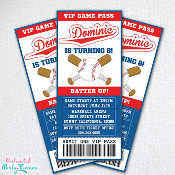 Baseball Invitation - Baseball Party Invitations - Baseball Birthday Party - Print At Home