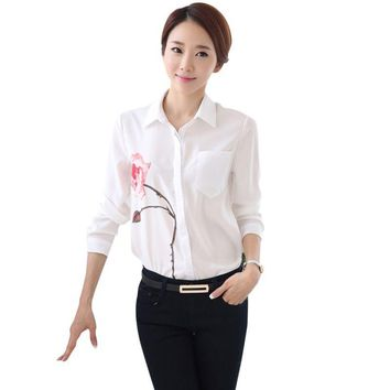 Fashion Women Long Sleeve Casual Business Office OL Blouse Shirts One Flower Tops New Arrival