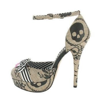 Iron Fist Lacy Days Sequins Skull w/ Bow Women's Platform Heels - Size 7