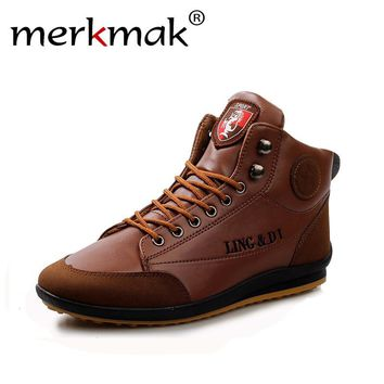 Merkmak Fashion Brand Men Shoes  PU Leather 2017 Warm Cotton Ankle Boots Spring Autumn Winter Men Flats Shoes Hombres Free Ship