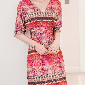Light Red Floral Print Tied-Up Chiffon Dress