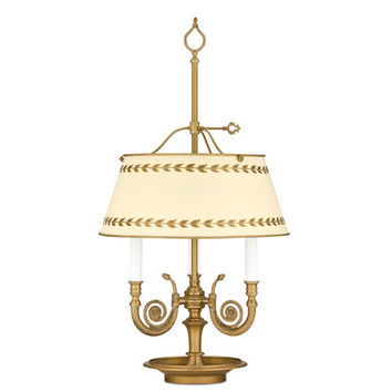Remington Lamp 1108 Antique Brass Table Lamp w/ Cream Hand-Painted Tole DTcor Metal Shade