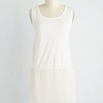 Minimal Long Sleeveless Gossamer Glam Tunic in White
