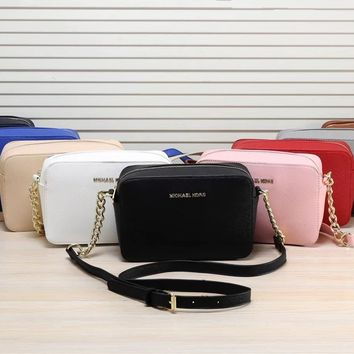 """Michael Kors"" Simple Fashion All-match Chain Single Shoulder Messenger Bag MK Women Zip Small Square Bag"