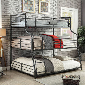 Furniture of america CM-BK918 Olga III collection triple twin over full over queen sand black metal frame industrial bunk bed