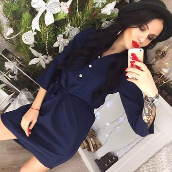 Women Casual Shirt Dress Vestidos 2018 Spring Summer Three Quarter Sleeve Party Office Workwear Dresses Female Clothes Plus Size