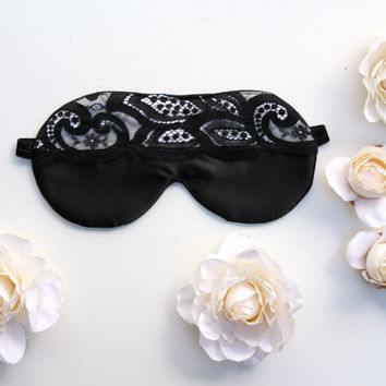 Black Lace Sleep Mask, Black and White Satin Mask Vintage Lace Sleep Mask