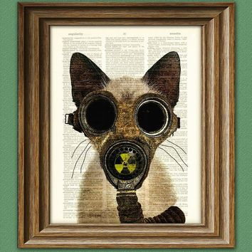 Art Steampunk Print Fallout Kitten Post by collageOrama on Etsy