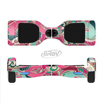 The Colorful Pink & Teal Seamless Paisley Full-Body Skin Set for the Smart Drifting SuperCharged iiRov HoverBoard