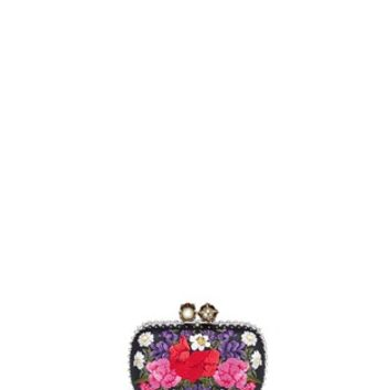 Alexander McQueen | 'Queen and King' Swarovski crystal skull floral embroidered box clutch | Lane Crawford - Shop Designer Brands Online