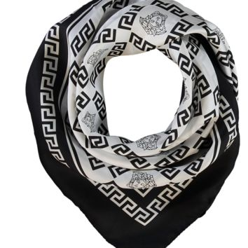 GIANNI VERSACE BLACK & WHITE MEDUSA 100% silk Designer Scarf trading now at £300