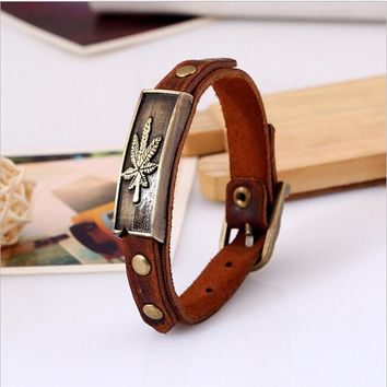 2016 Punk Style Alloy Leather Bracelet Maple Leaf Bracelet Wristband For Women Men Fashion Jewelry