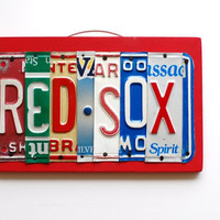 RED SOX, OOAK License Plate Art, Wall Hanging, Baseball Home Decor, Valentines Day Gift, Christmas Gift, Fathers Day gift,wedding gift