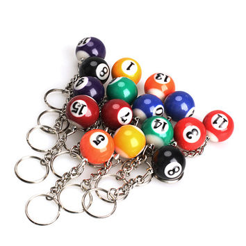 16PCS Snooker Ball Set Keychain Billiards Pool Keyring Gift 25mm