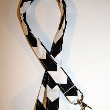 Lanyard  ID Badge Holder - Black and white Chevron - Lobster clasp and key ring