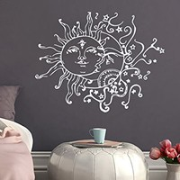 Wall Decal Vinyl Sticker Sun And Moon Crescent Ethnic Dual Symbol Stars Night Sunshine Decals Nursery Bedroom Dorm Art Home Decor NV155 (17x22)