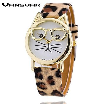 Vansvar Fashion Cat Watch with Glasses Casual Women Quartz Watches Relogio Feminino Leather Strap New Hot montre 1597