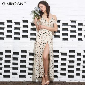 SINRGAN Floral Print Ruffles Cotton Long Dress Women Strap V-Neck Split Beach Summer Dress Sexy Backless Maxi Dresses Vestidos