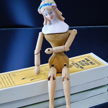 Vintage Shackman Doll Antique Bisque Jointed Wood Arms Legs Ready For Costuming Poseable Doll Japan