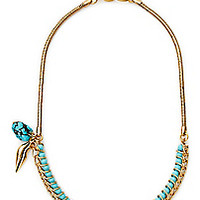 DVF Dree Turquoise Faceted Bead and Charm Necklace