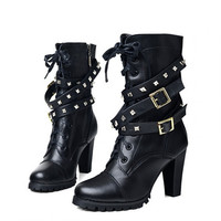 Hot Sale Vintage Womens Buckle Rivet High Heels Military Lace Up Punk Rock Motocycle Riding mid calf Boots Shoes Black Alternative Measures