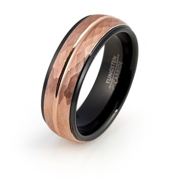 Rose Gold Wedding Band Mens Engagement Ring 18k Tungsten Carbide 8mm Hammered Black Stepped Edges Male Anniversary