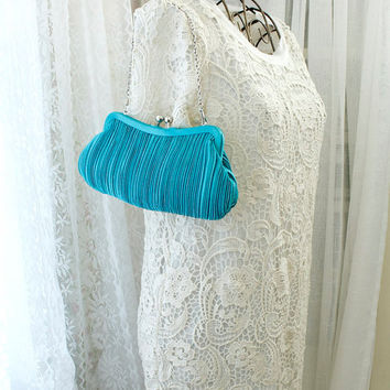 Vintage 1980s Satin Aqua Blue pleated clutch shoulder bag small cocktail purse