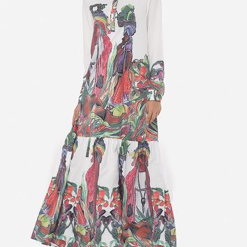 Casual Printed Loose Fitting Extraordinary Lapel Maxi-dress