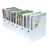 Evelots Set of 6 Magazine/File Holders Bin Home Office Desk Organizer, White