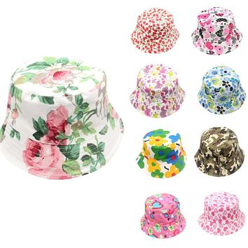 Free Size 9 Color Summer Baby Hats For Girls Boys Toddler Kids Baby Boys Girls Print Caps Sun Hat Baby Accessories M8Y11 #F